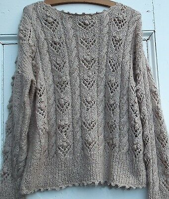 VINTAGE 80s 90s WOMEN'S SWEATER JUMPER MOHAIR HAND KNITTED BEIGE LOOSE HANDMADE