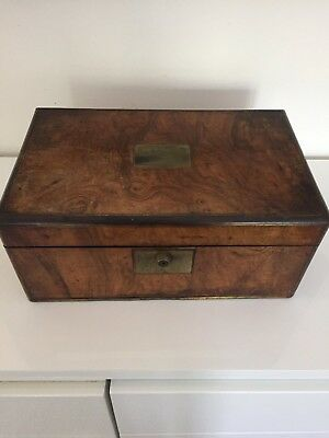 Antique Walnut Writing Slope Box - needs attention