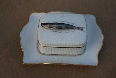 Antique French Pillivuyt Signed Porcelain Sardines Box Dish Covered&tray Tureen