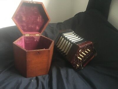 lachenal 26 key concertina rose wood 5 bellows with box vintage