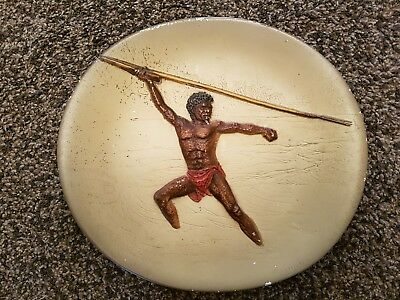 Vintage Bossons Hand Painted Wall Plate Aboriginal Tribal