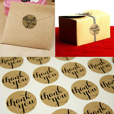 "120Pcs Packaging Seals Kraft Sticker Label ""Thank You"" Gift Box Decor 3.5X3.5CM"