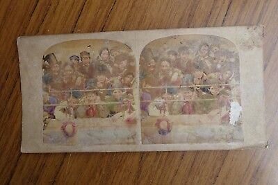 """Colour Tinted Stereoview Seeing the Pantomime """"The Gallery"""" c1850's"""