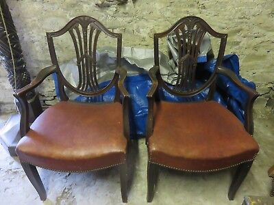 Antique mahogany shield back dining chairs with leather seats