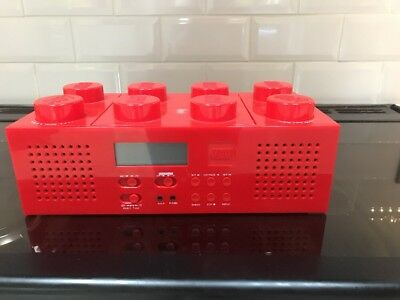 lego brick boombox CD player AM/FM radio Red