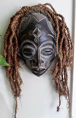 Vintage African tribal chokwe mask with hair hand carved