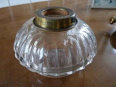 Hinks oil lamp cut glass font fount  with brass bayonet fixing collar