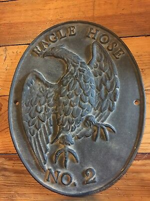 Vintage Eagle Hose No.2 Cast Iron Fire Mark Fire Insurance Plaque