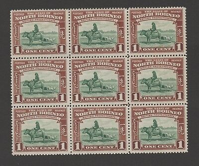 North Borneo. 1939. SG303. 1c green/red-brown. Unmounted mint block x 9.