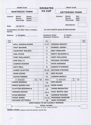 2017-2018 Nantwich Town V Kettering Town-Fa Cup 4Th Round Qualifying-Teamsheet