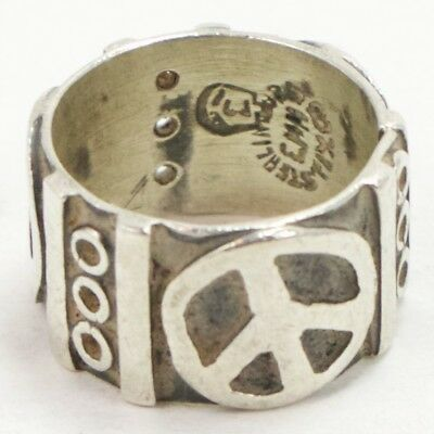 VTG Sterling Silver - MEXICO TAXCO Signed Peace Sign Ring Size 6 - 6g