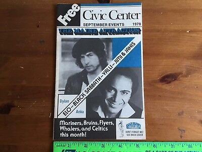 Bob Dylan 1978 Maine Civic Center 16 Page Booklet+Black Sabbath Elo, Anka, Valli