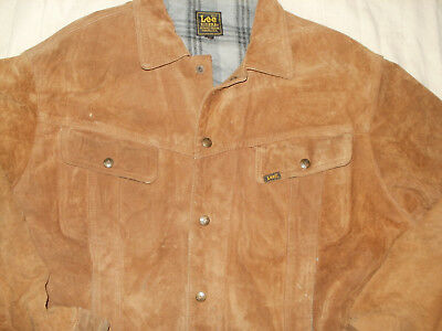 Rare vintage Lee Rider Levi's style suede leather western trucker jacket,size L