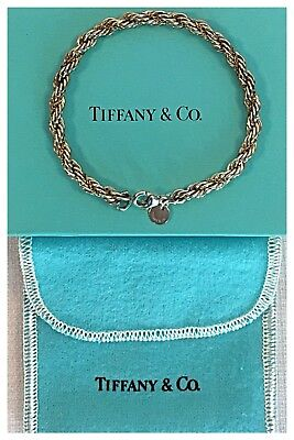 Vintage Tiffany & Co. 925 Sterling Silver 18k Gold 5mm Rope Chain Bracelet NEW