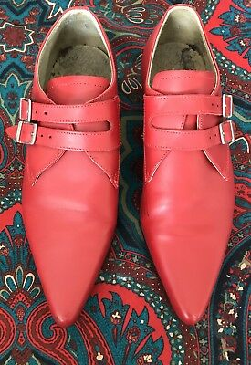 Men's Red Winklepicker Shoes UK Sz7.5 Goth Vampire Rockabilly Garage Punk