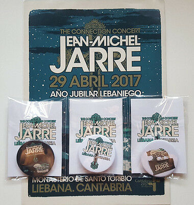 "Jean Michel Jarre ""the Connection Concert"" Set Of 3 Official Badges Liebana 2017"