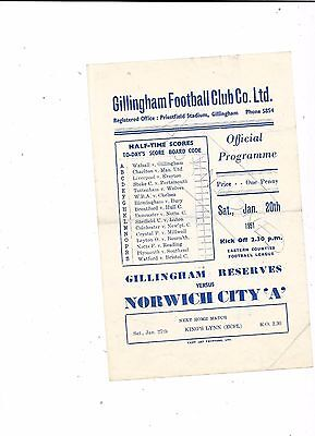 """Gillingham Reserves v Norwich City """"A"""" 20/1/1951 Eastern Counties Abandond Match"""