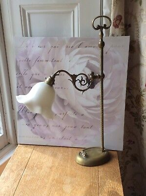 Antique Victorian Brass Lamp With Glass Shade