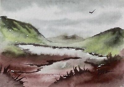 ACEO Original Art Watercolour Painting by Bill Lupton  - Isolated Tarn