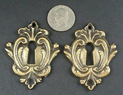 "2 Rare Antique Style French Eschutcheons Key Hole Covers 2 1/4"" jewelry part #E9"