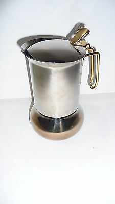 PELMAR Stainless Steel Brass Stove Top Expresso Maker Made In Italy Used Clean