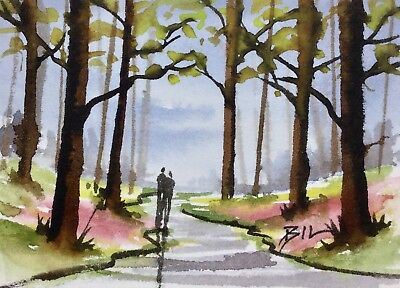 ACEO Original Art Watercolour Painting by Bill Lupton  - Springtime