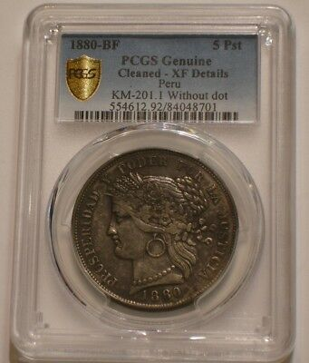 1880 Silver 5 pesetas Peru PCGS XF Details in Secure Shield Holder without Dot