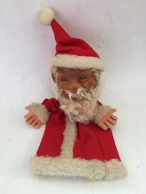 "VINTAGE STEIFF~ Hand Puppet - Santa Claus with Hat Germany Button  11"" tall"