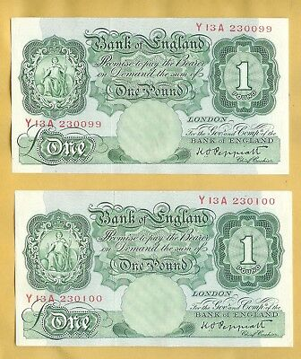 One Pound Notes consecutive numbers Y13A 230099 and Y13A 230100 UNC