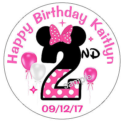 20 MINNIE MOUSE 2nd Second BIRTHDAY PARTY FAVORS STICKERS FOR YOUR