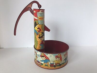 OHIO ART CO - WATER PUMP toy - vintage tin - FIREFIGHTER