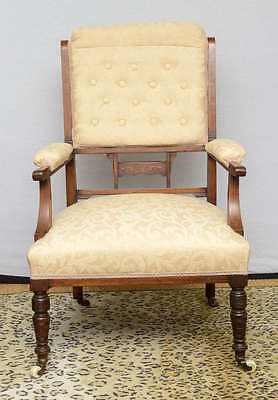 19th Century English Pair of a Rosewood Armchairs Cream Fabric