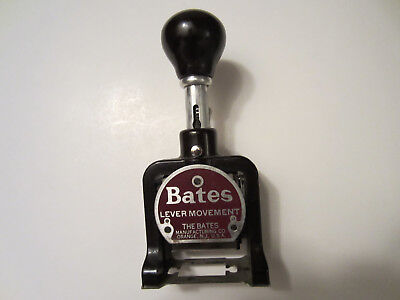 Vintage Bates Lever Movement Numbering Machine 6 Wheel Style E Stamp