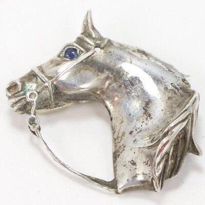 VTG Sterling Silver - Signed 1978 Sapphire Eye Horse Head Brooch Pin - 11g