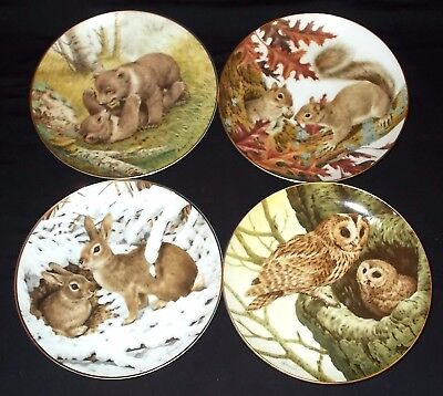 FOUR Collector Studio 'THE FOREST YEAR' by John Francis Collectors Plates