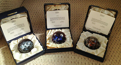 Set 3 Caithness Planets Glass Paperweights Sun, Moon Pluto Limited in Box 1973
