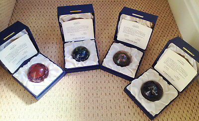 Set 4 Limited Elements Caithness Glass Paperweights Fire/Water/Earth/Air  Box 73