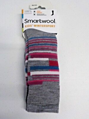 Girls Size M Smartwool Brand Gray/pink/blue Striped Wintersport Socks Nwt #4728