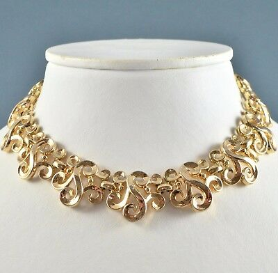 "Vintage Necklace CROWN TRIFARI 1950s Goldtone ""S"" Scrolls Bridal Jewellery"