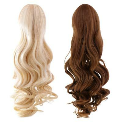 2 PCS Gold + Brown Curly Hair Wig for 18'' American Girl Dolls DIY Making