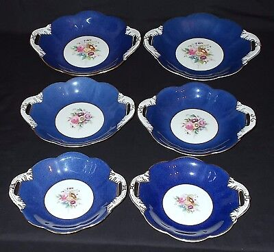 SIX Coalport FLORAL SPRAYS Blue Graduated Two Handled Dishes