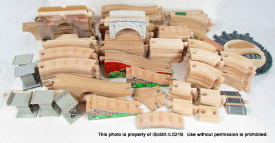 HUGE LOT THOMAS & FRIENDS WOODEN TRAIN TRACK Straight, Curved, Bridges, Risers