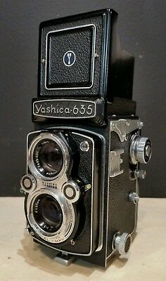 Yashica 635 Working Vintage TLR 35mm 120 Dual Format Camera & Case & Accessories