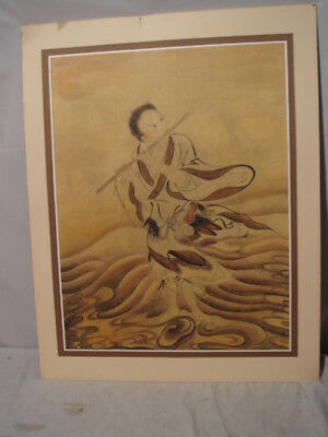 Old Chinese Painting on Paper Boy Playing Flute in Waves SIGNED