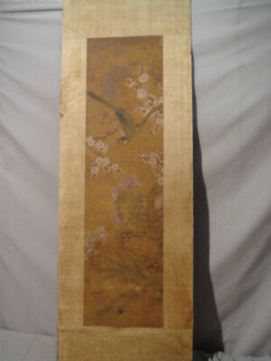 Old Chinese Tall Painting on Silk Bird on Brach with Flowers