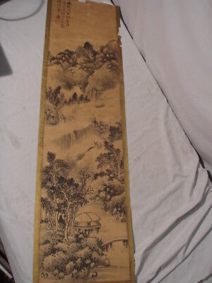 Old Chinese or Japanese Signed Scroll Painting B&W Mountain Scene