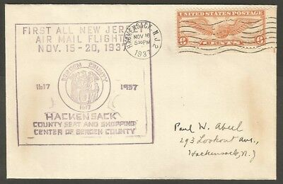 1937 Us First Flight Air Mail Cover Hackensack Nj 6C Air Mail Stamp
