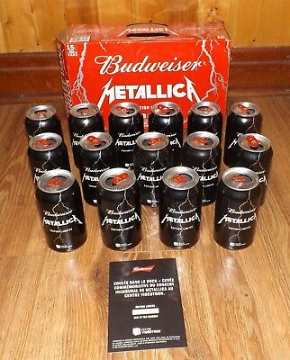 Budweiser Metallica Case 15 Empty Cans 355ml Limited Edition­­­­ Quebec w/Case,