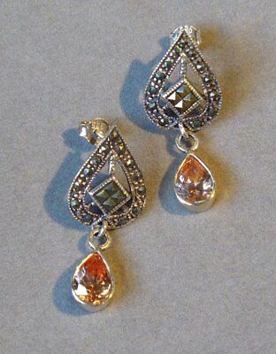VINTAGE ESTATE CITRINE and MARCASITE STERLING SILVER DANGLING DESIGN EARRINGS !!