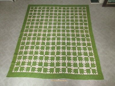 """Antique Hand Made Sewn Applique Blocked Green Red Star & White Quilt 84"""" x 74"""""""
